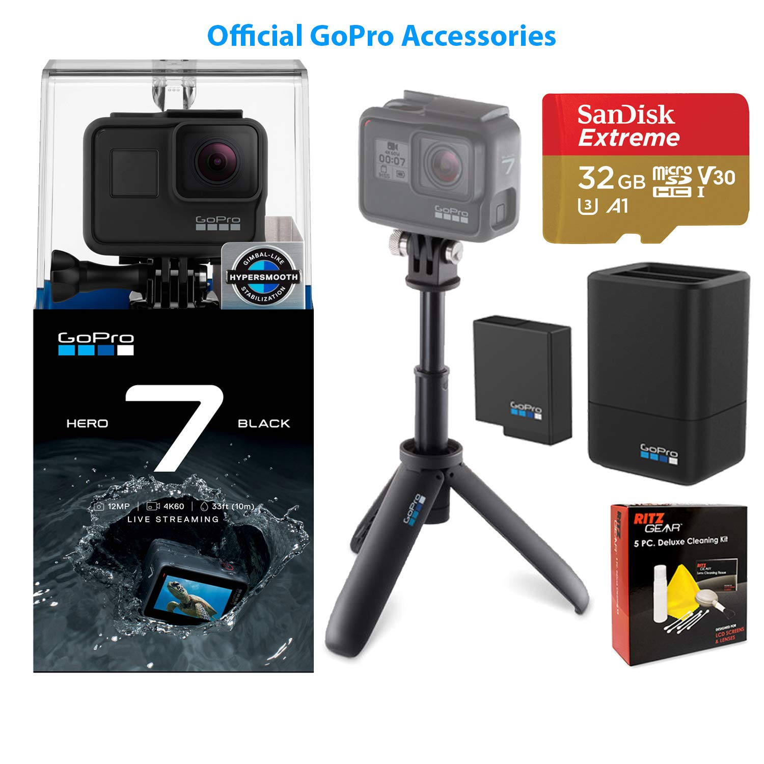 GoPro Hero 7 Black Edition Action Camera with Dual Battery Charger/Battery, GoPro Shorty Selfie-Stick, 32GB MicroSD Memory Card and Cleaning Kit