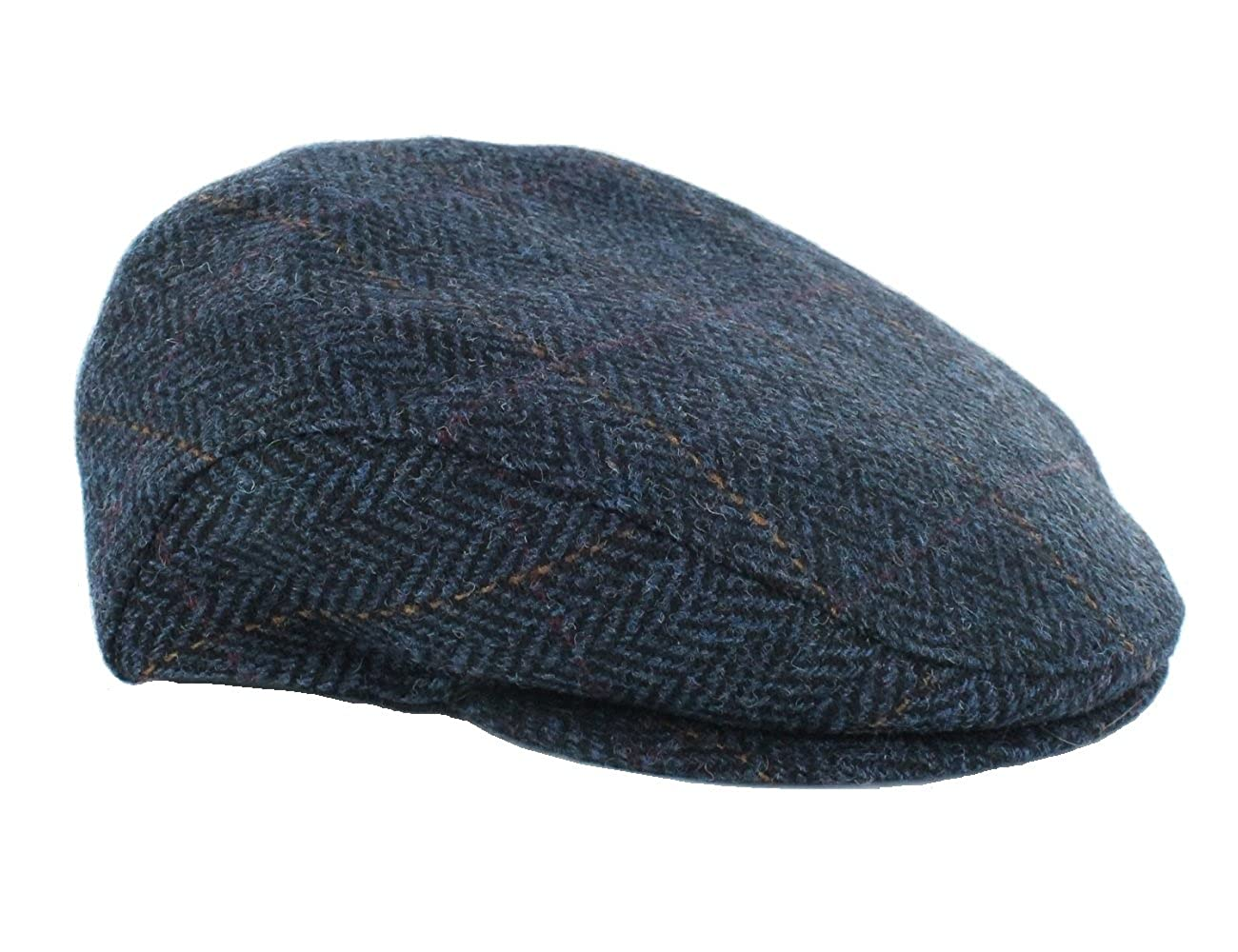 Irish Flat Cap 100% Wool Navy Herringbone Made in Ireland Mucros