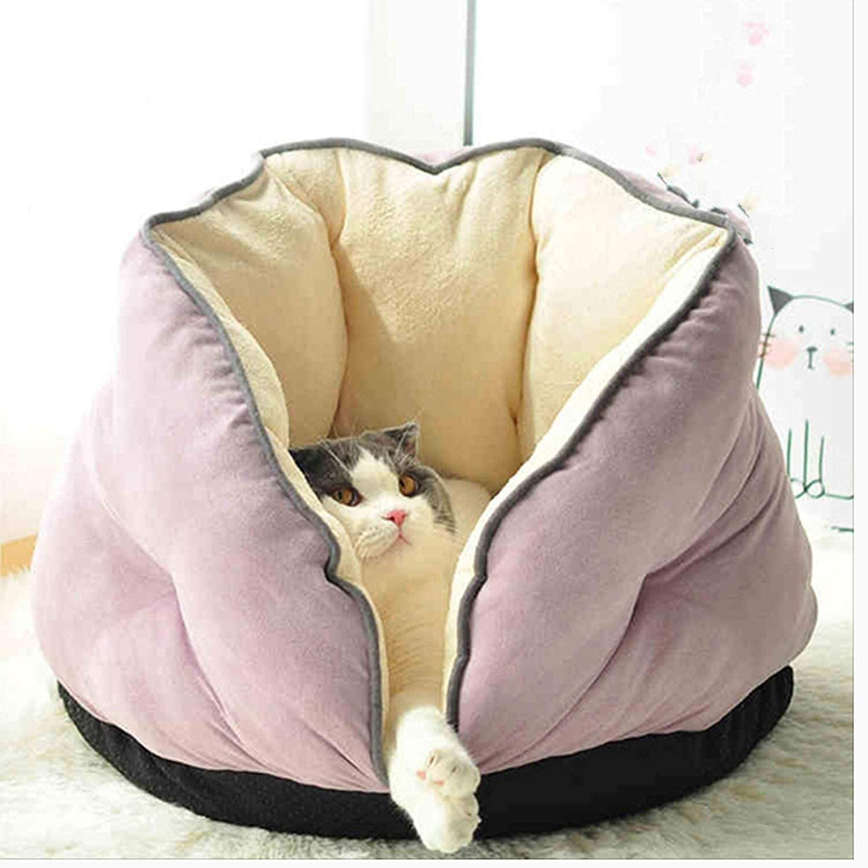 Foraging hamster Perro Mascota pequeña Cat Litera Saco De Dormir para Gatos Perrera Perro Pequeño Otoño E Invierno Cálido Semi-Cerrado Cat Room Cat House Cat Nest Cat Pet Supplies Gato