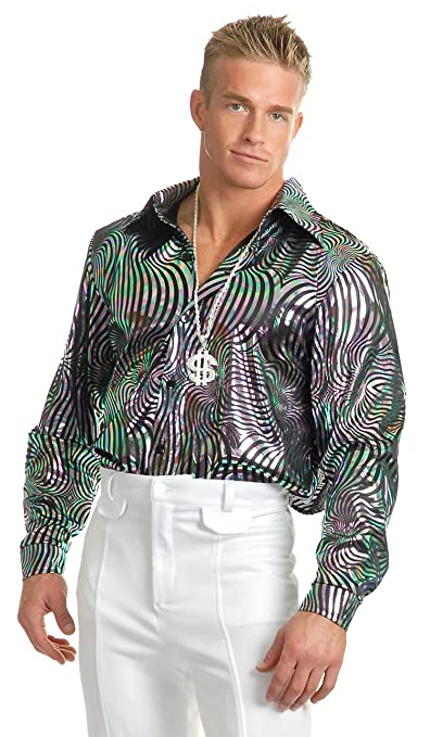 70s Costumes: Disco Costumes, Hippie Outfits Charades Mens Psychedelic Swirl Disco Shirt $49.99 AT vintagedancer.com