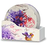 Drink Coasters with Holder - Set of 6 - Assorted Butterflies and Lavender Flowers Designs - Each One is Printed with a Unique Design - Coasters with Flowers