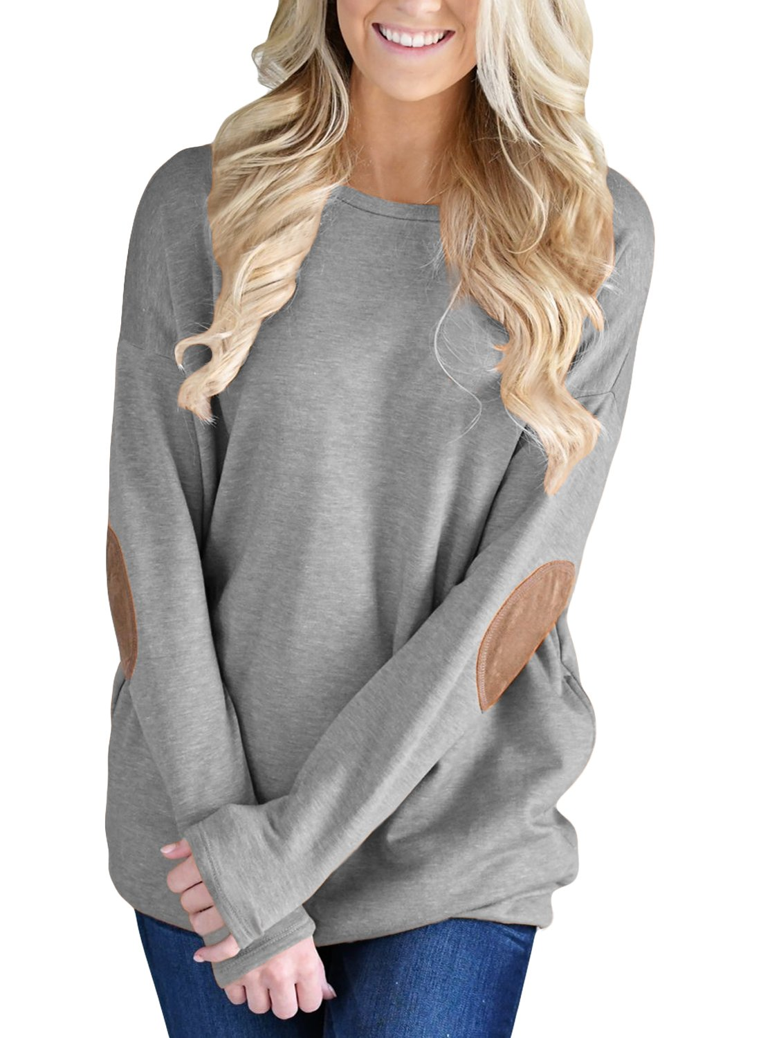 FARYSAYS Women's Casual Loose Long Sleeve Crewneck Elbow Patch Sweatshirt Tunic Tops