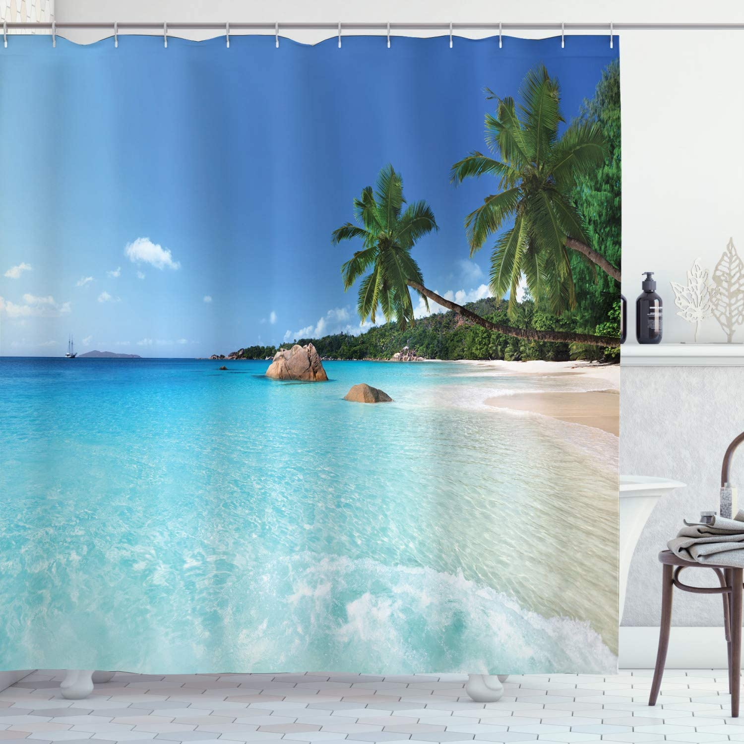 Ambesonne Ocean Shower Curtain, ANSE Lazio Beach at Praslin Island Surfing Beach Scenic View, Cloth Fabric Bathroom Decor Set with Hooks, 84 Long Extra, Blue Turquoise