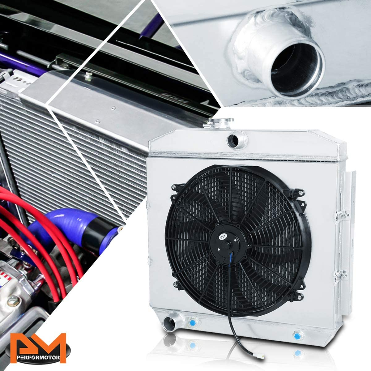 For Chevy Bel-Air/Nomad V8 MT 55-57 Aluminum 3-Row Cooling Radiator with Fan Shroud