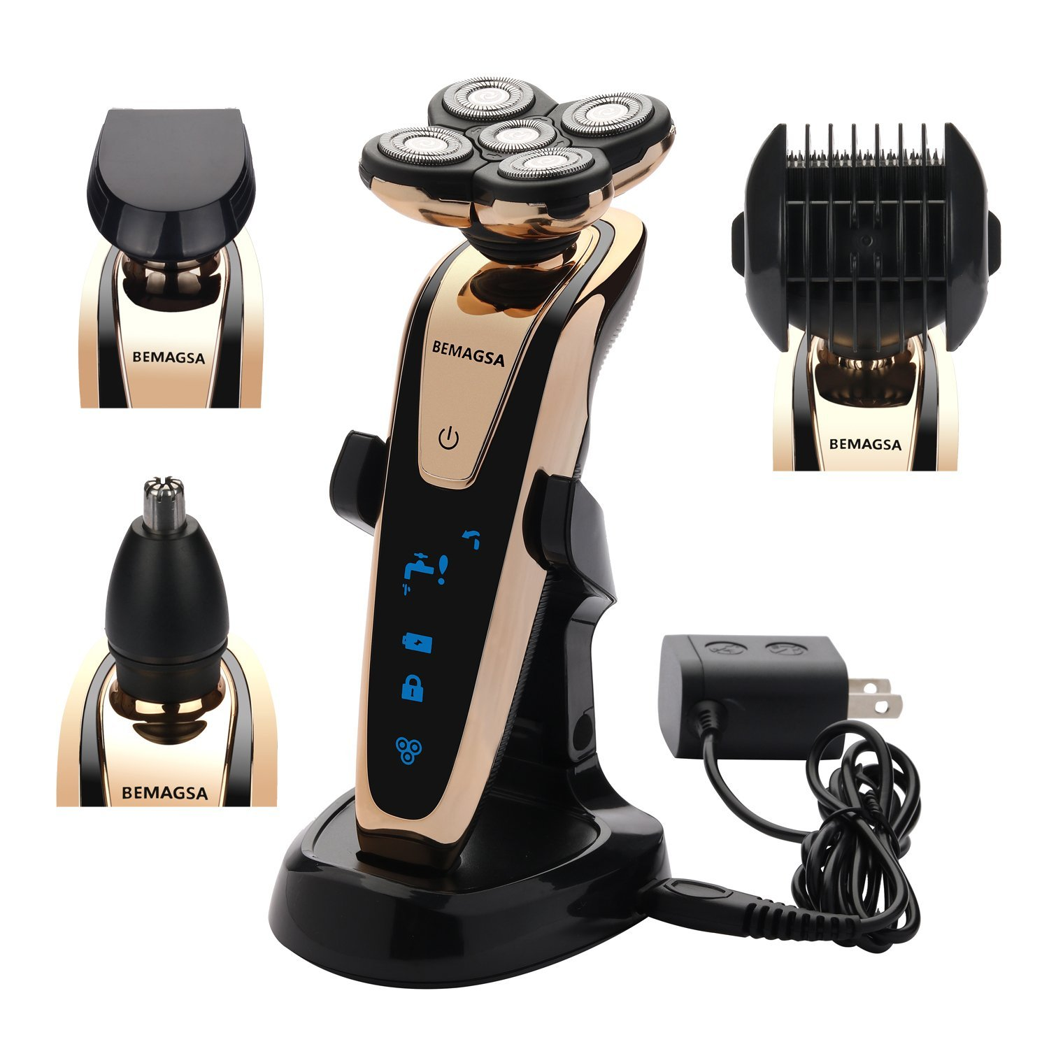 BEMAGSA Electric Shaver 5D Headed Flex Wet and Dry Waterproof Electric Razor Rotary Shaver for Men,4-in-1,1280