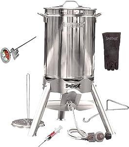 Enterprises Turkey Fryer Complete Stainless Steel Kit for 25+ Pound Oversized XL Big Fry 44 Quart Stockpot