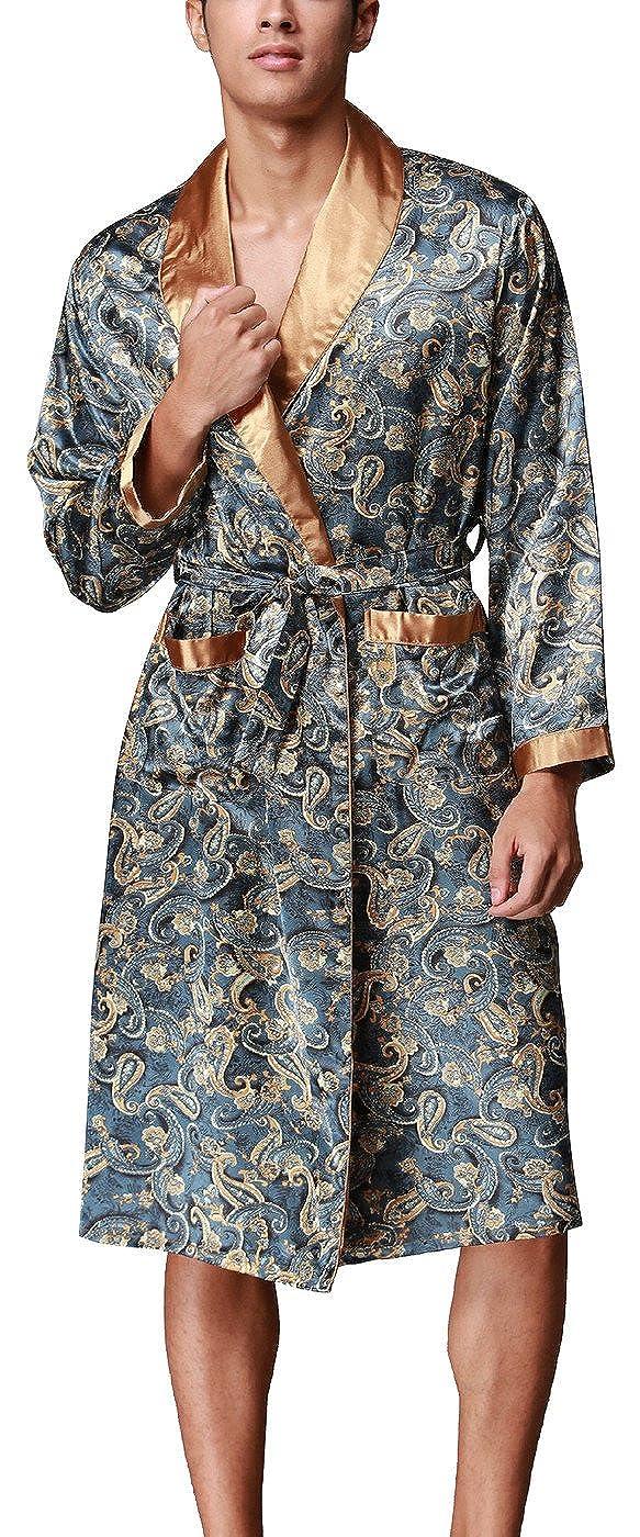 Lungo in Raso Pigiami e Abbigliamento//Notte Satin Vestaglie//Kimono Bagno Vestito Stili di Moda Evening Dressing Gown VERNASSA Uomo Accappatoio L-XXL