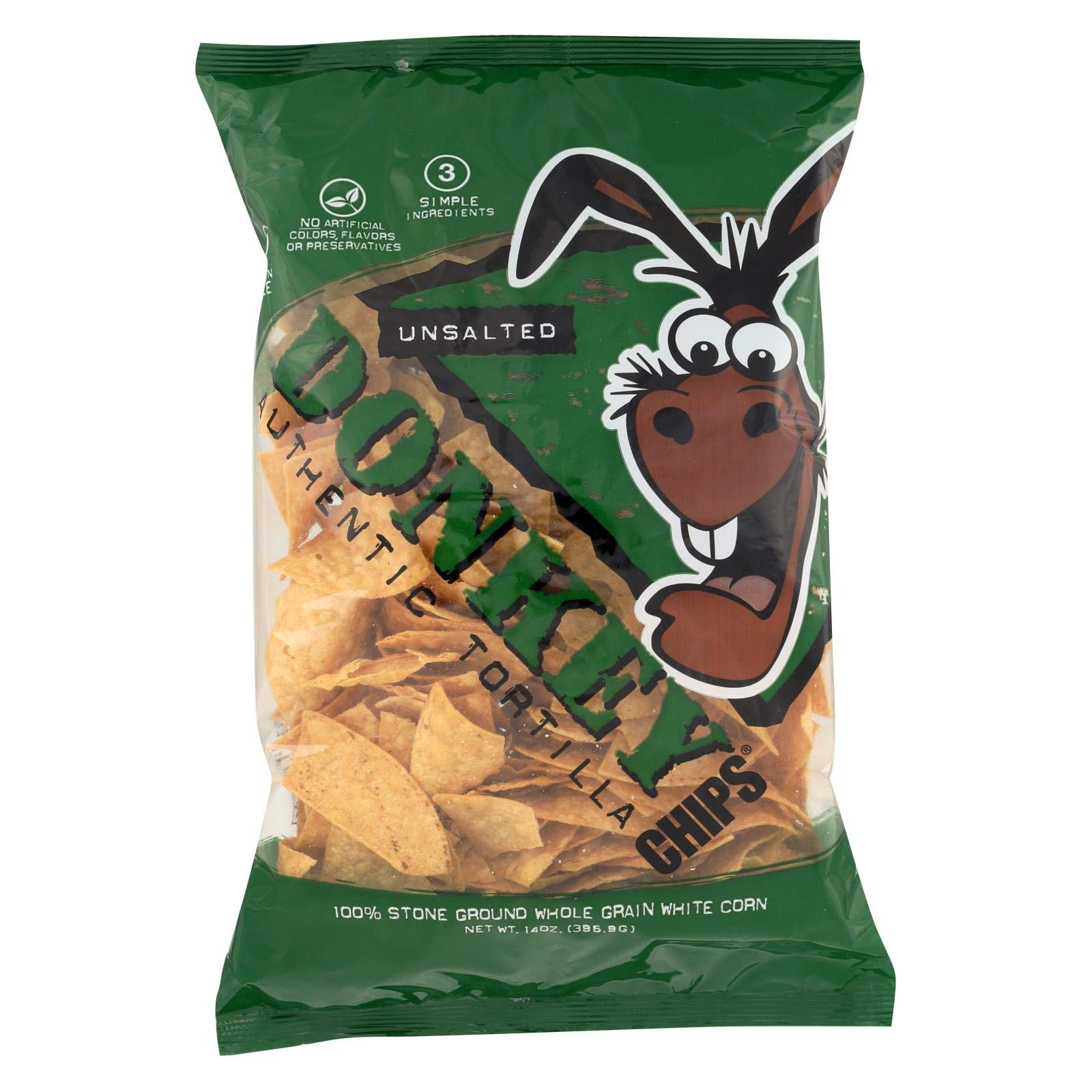 Donkey Authentic Tortilla Chips All Natural Unsalted, 14oz (Pack of 12) by Btg Brands, LLC.