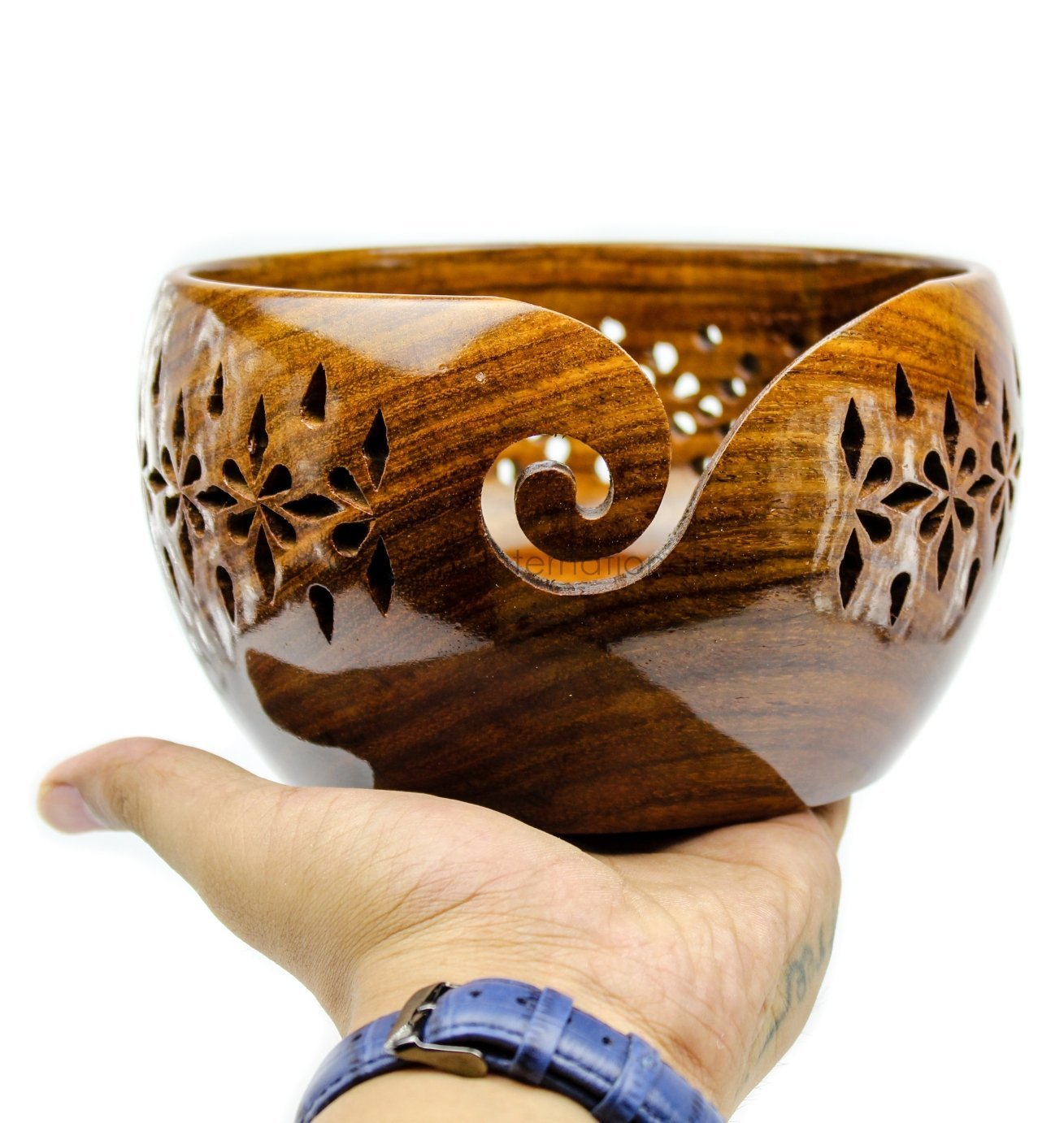 HANDMADE VINTAGE ART Rosewood Crafted Wooden Yarn Storage Bowl With Carved Holes & Drills | Knitting Crochet Accessories