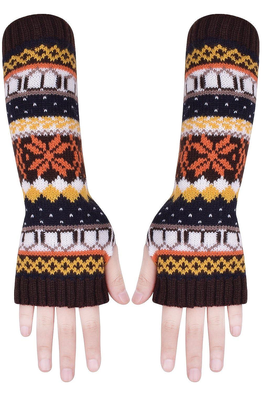 Brown Fingerless Gloves Knit Winter Gloves Mens Fingerless Mittens ...