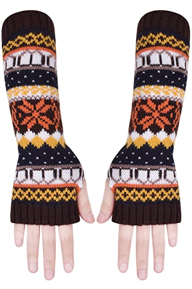 Brown Fingerless Gloves Knit Winter Gloves Mens Fingerless Mittens