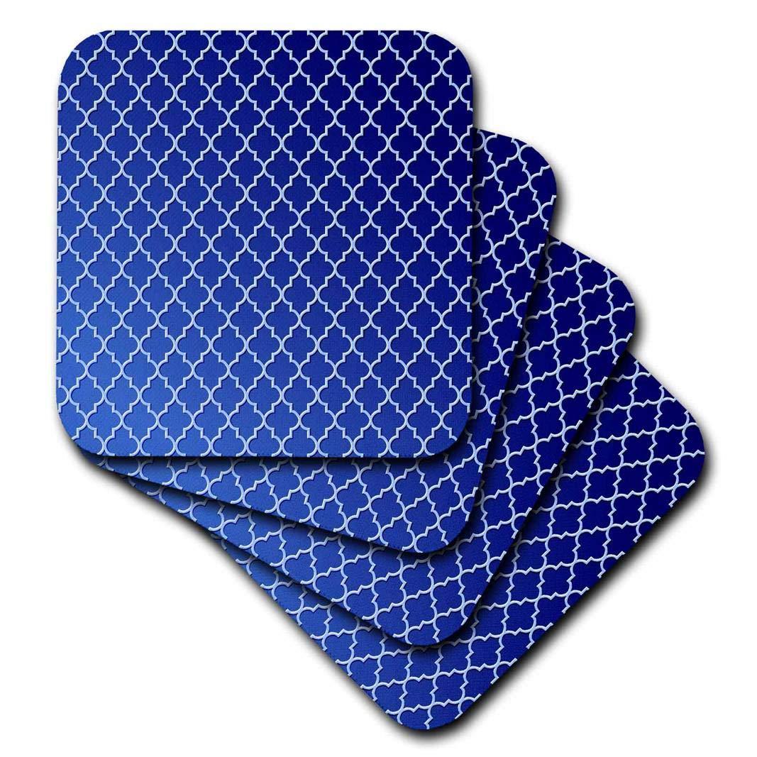 Ceramic Tile Coasters 3dRose Pale Blue Quatrefoil Trellis Pattern On Blue Tonal Background Set of 4 CST/_220358/_3