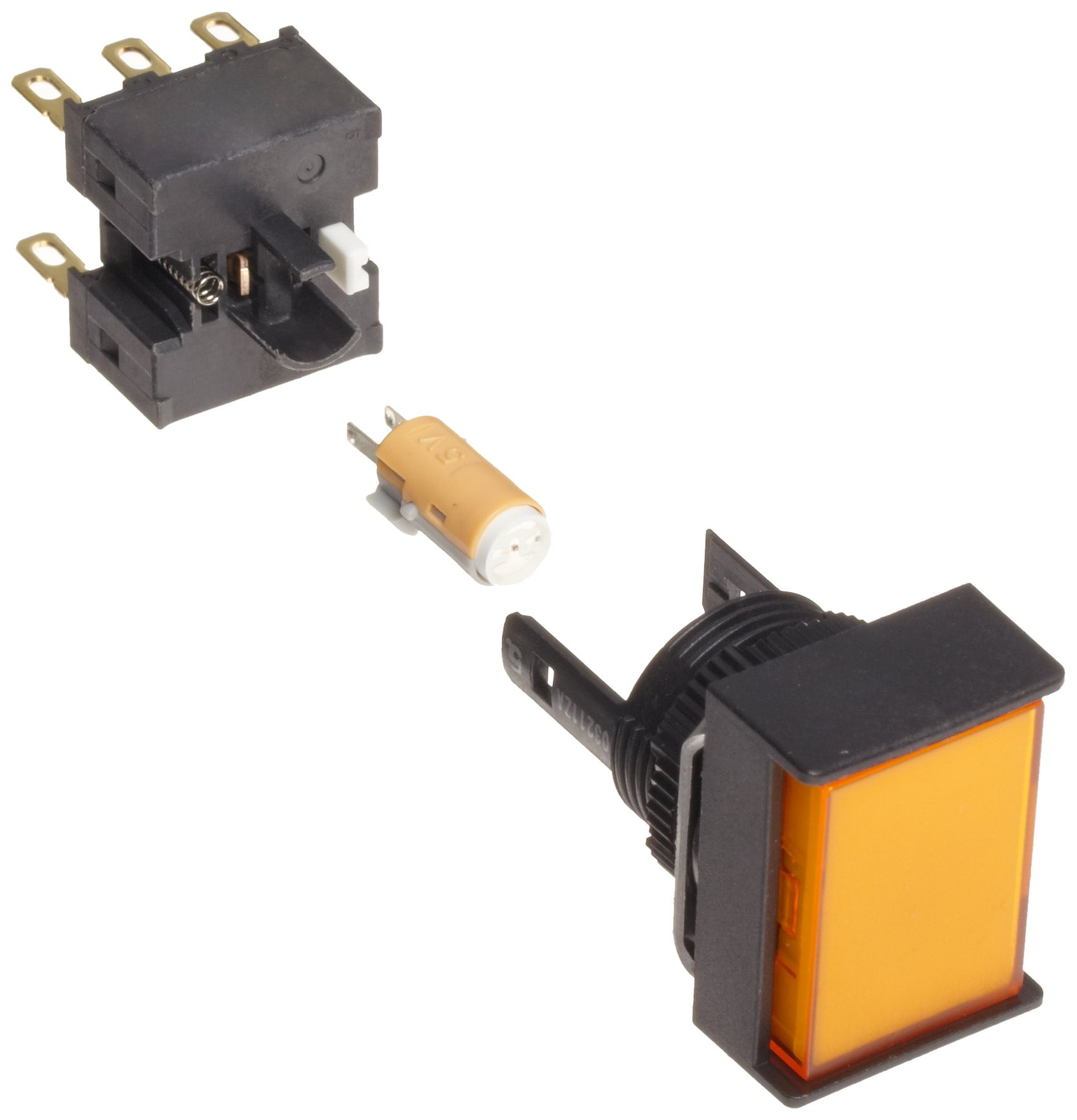 Omron A165L-JGM-24D-1 Two Way Guard Type Pushbutton and Switch, Solder Terminal, IP65 Oil-Resistant, 16mm Mounting Aperture, LED Lighted, Momentary Operation, Rectangular, Green, 24 VDC Rated Voltage, Single Pole Double Throw