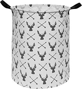 HUAYEE 19.6 Inches Large Laundry Basket Waterproof Round Cotton Linen Collapsible Storage bin with Handles for Hamper,Kids Room,Toy Storage(Deer)
