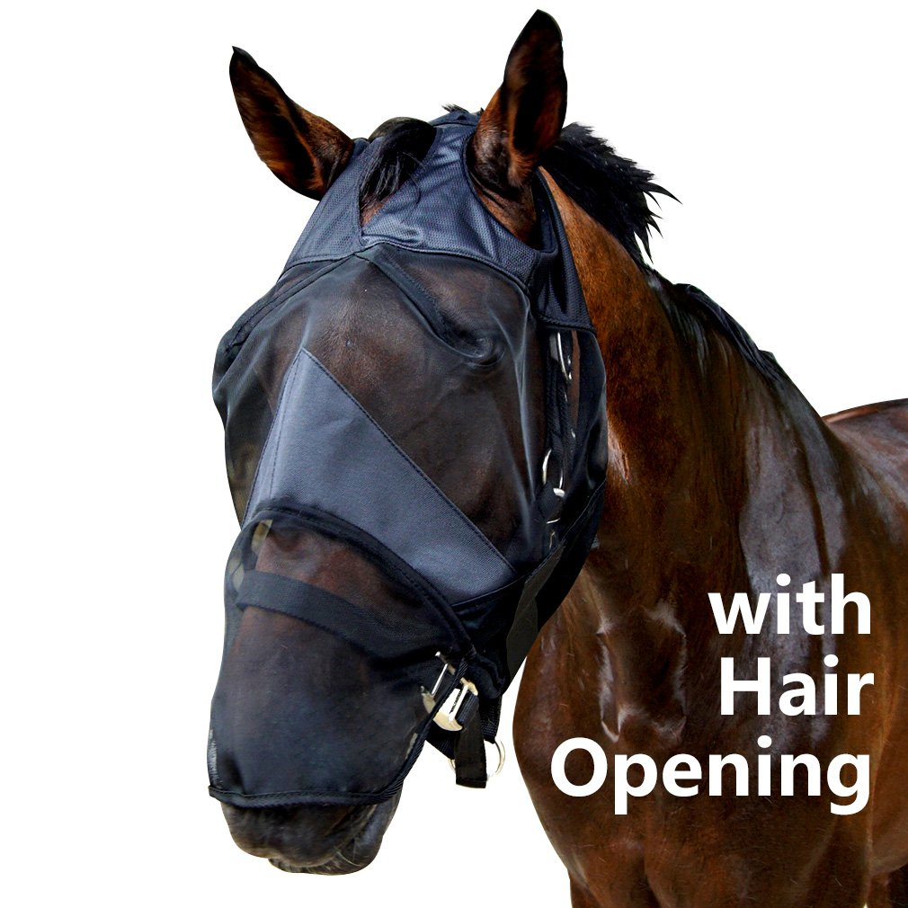 CUBETECH Horse Fly Mask with Long Nose Black and Hair Opening Good Vision Soft and Breathable All Around Barn Stable Pasture Trail Riding Fly and Sun Predection Fly Masks (Horse Black)