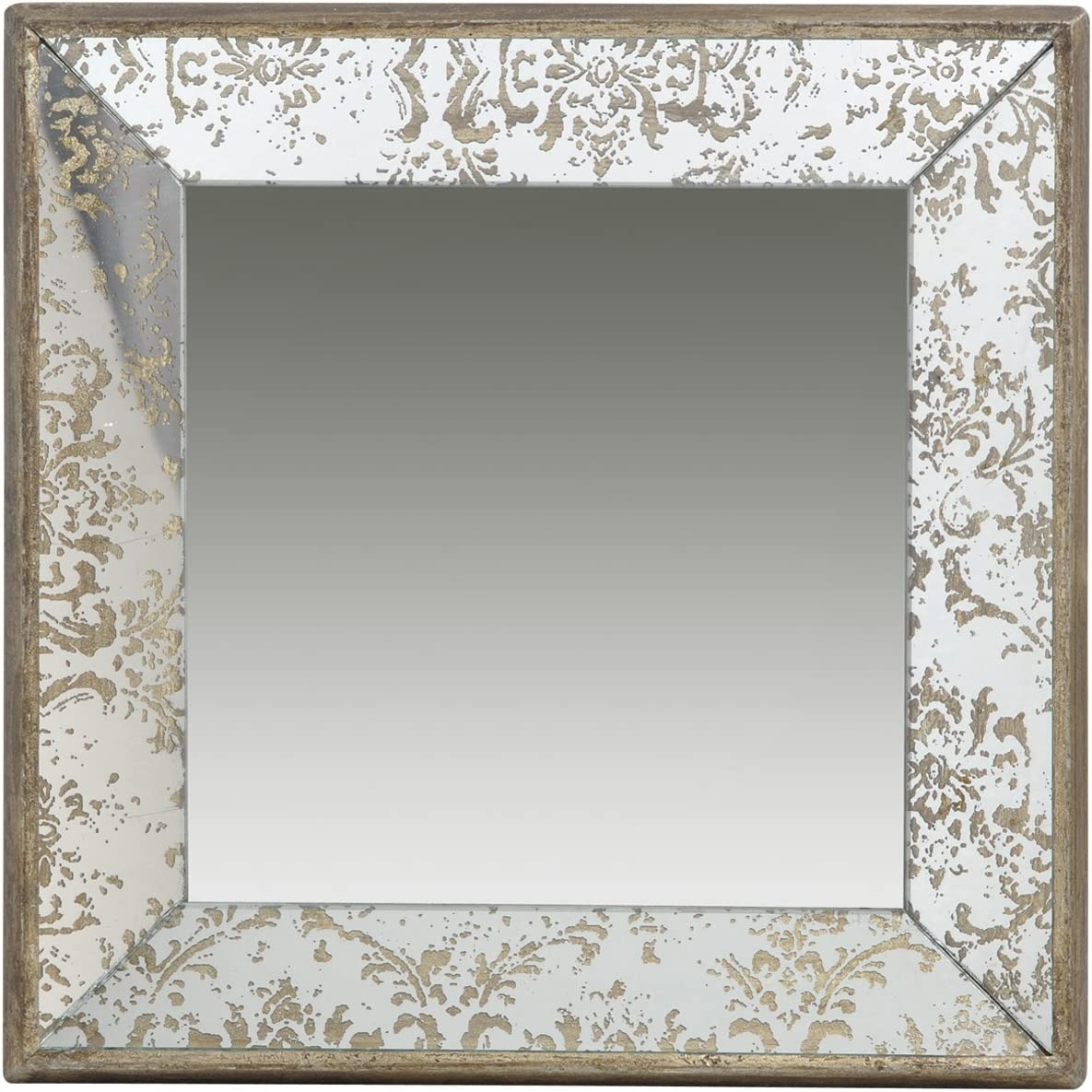 A&B Home Antique-Look Frameless Square Wall Mirror Tray, 24