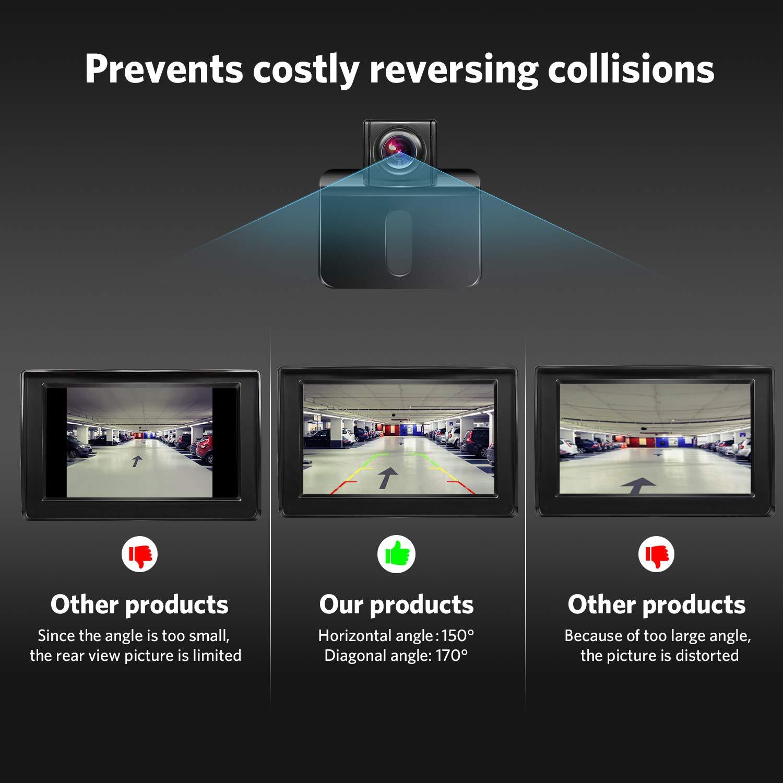para coches con pantalla LCD de 4,3 pulgadas impermeable BOSCAM K1 Juego de c/ámara de marcha atr/ás y monitor inal/ámbricos camiones con visi/ón nocturna furgonetas caravanas