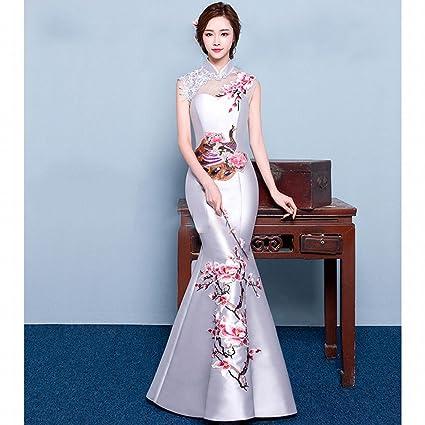 JJK Chinese Cheongsam Hombro Retro Bordado Novia Degustación Vestido Rojo Delgado Pez Cola Noche Banquete de