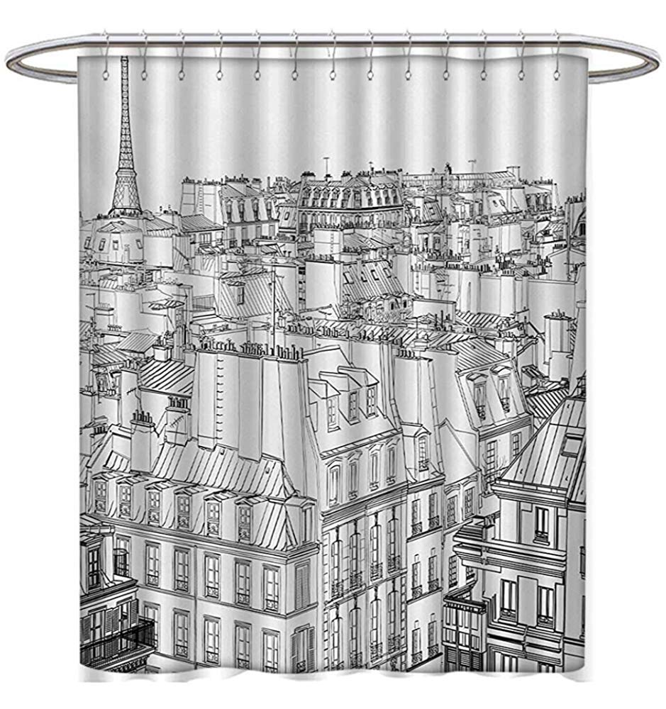 Paris Shower Curtains Fabric Extra Long Architecture Theme Design Illustration Roofs In Eiffel Tower Print Bathroom Decor Set Hooks W60 X L72 Black