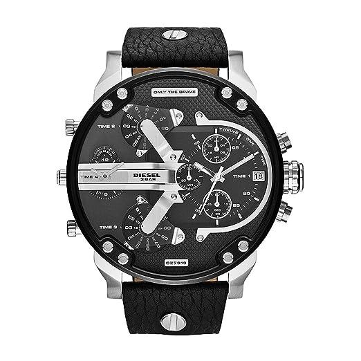 Reloj hombre DIESEL dz7313 Mr Daddy 2.0 - Correa de piel y esfera de acero negro/plata: Amazon.es: Relojes