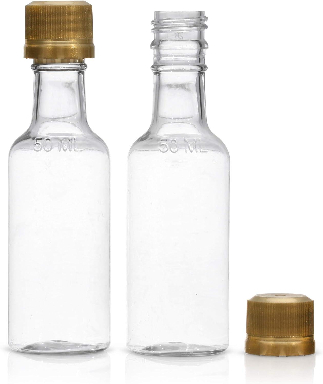 Mini bottles - Mini Liquor bottles -Mini Plastic 50 Ml Bottles - (30) PACK - Little Empty Alcohol Shot Nips - Mini Plastic Bottle With Caps-Empty Airplane Liquor Bottles - Plastic mini bottles