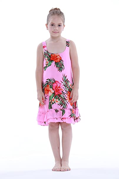 72295156b818b Amazon.com: Aloha Fashion Girl Pink Floral Hawaiian Luau Dress in ...