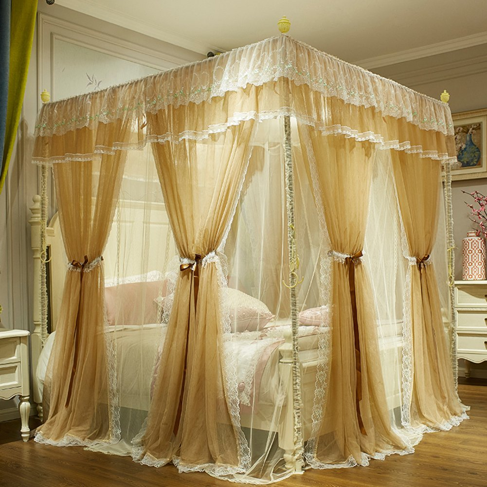 European solid color four corner bed canopy mosquito net, Princess style Court Floor Three-door Double Home Double-layer moisture curtain-C 180x220cm(71x87inch)
