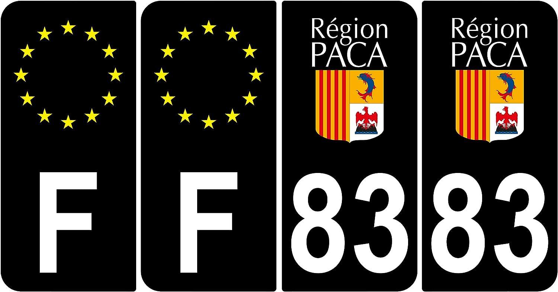 Supstick 4 Stickers Autocollants Plaques Immatriculation Auto Dept 83 Paca Noir Angles Arrondis