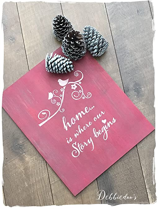 Amazon Com Home Is Where Our Story Begins Stencil Mylar For Pillows