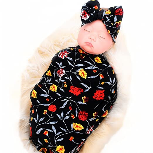 Galabloomer Newborn Receiving Blanket Headband Set Flower Print Baby  Swaddle Receiving Blankets Black e1a666d99