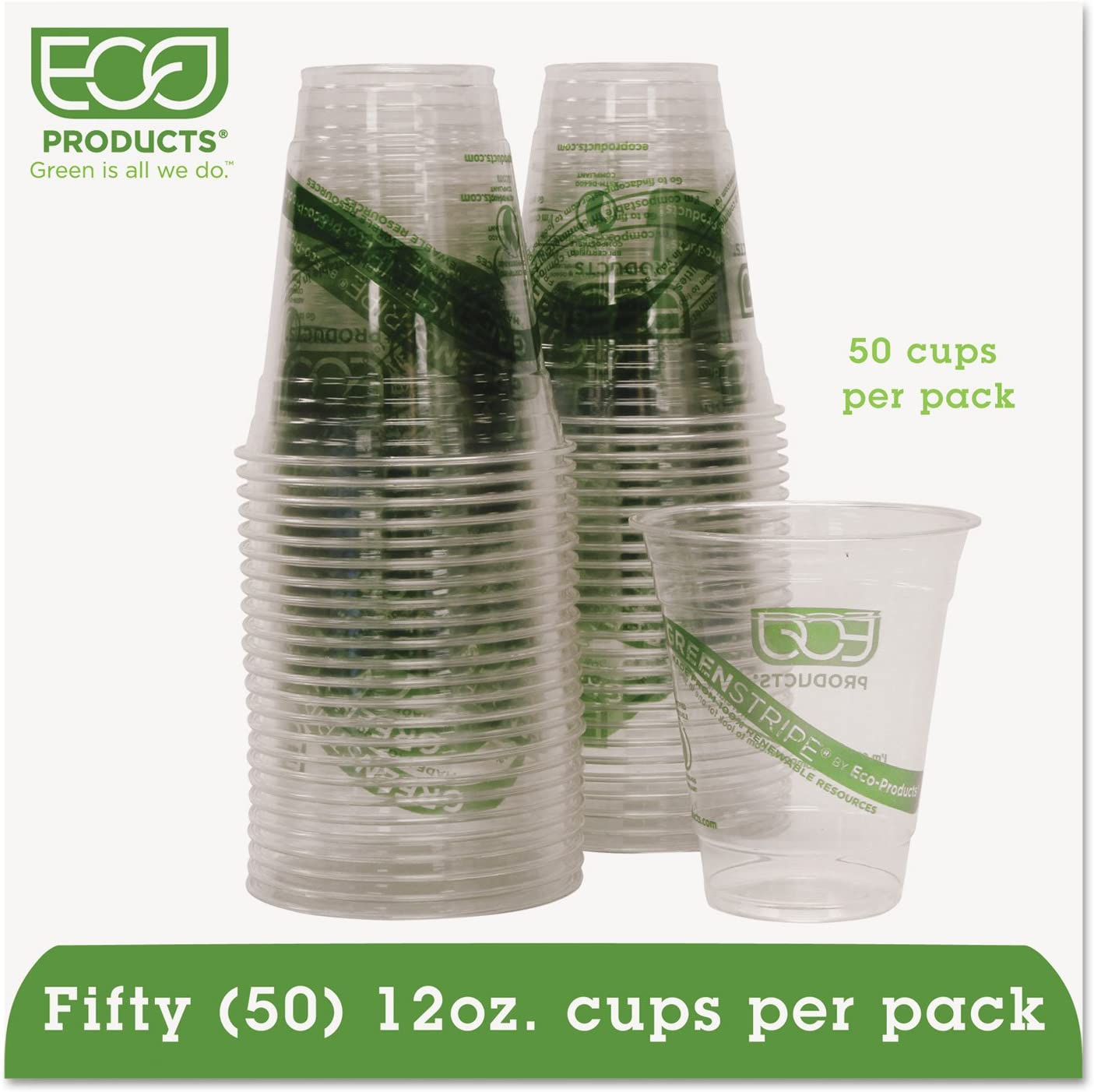 Eco-Products GreenStripe Renewable /& Compostable Cold Cups Convenience Pack