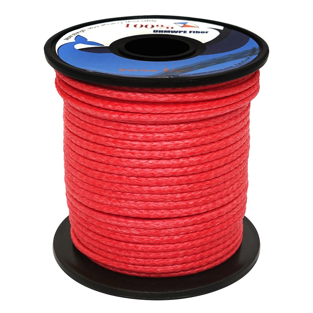 emma kites Red UHMWPE Braided Cord High Strength Least Stretch Tent Tarp Rain Fly Guyline Hammock Ridgeline Suspension for Camping Hiking Backpacking Survival Recreational Marine Outdoors 100Ft 350Lb by emma kites (Image #6)