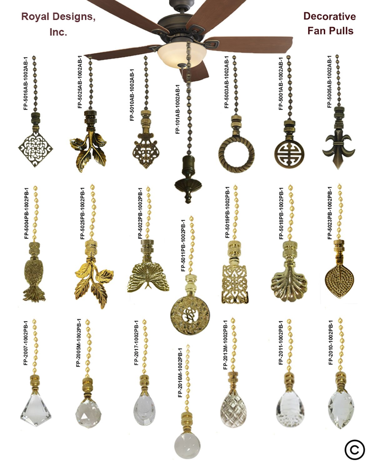 Royal Designs Fan Pull Chain with Radiant Teardrop Clear Crystal Finial