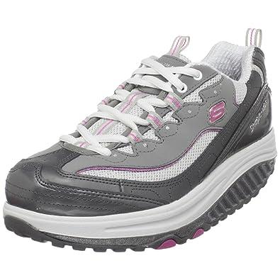 Skechers Shape Ups Women Grey Pink Leather Lace Up Sneaker Walking Shoe Sz US 8