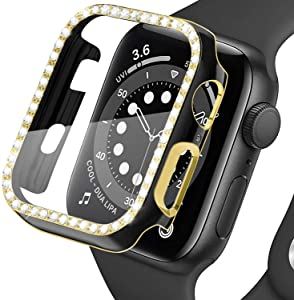 LOBKIN Colorful Bling Crystal Diamond Shiny Frame Apple Watch Case Tempered Glass Screen Protector Compatible iWatch Series SE/6/3 Bumper Smartwatch Full Cover Protective Case (Black-Gold, 42mm)