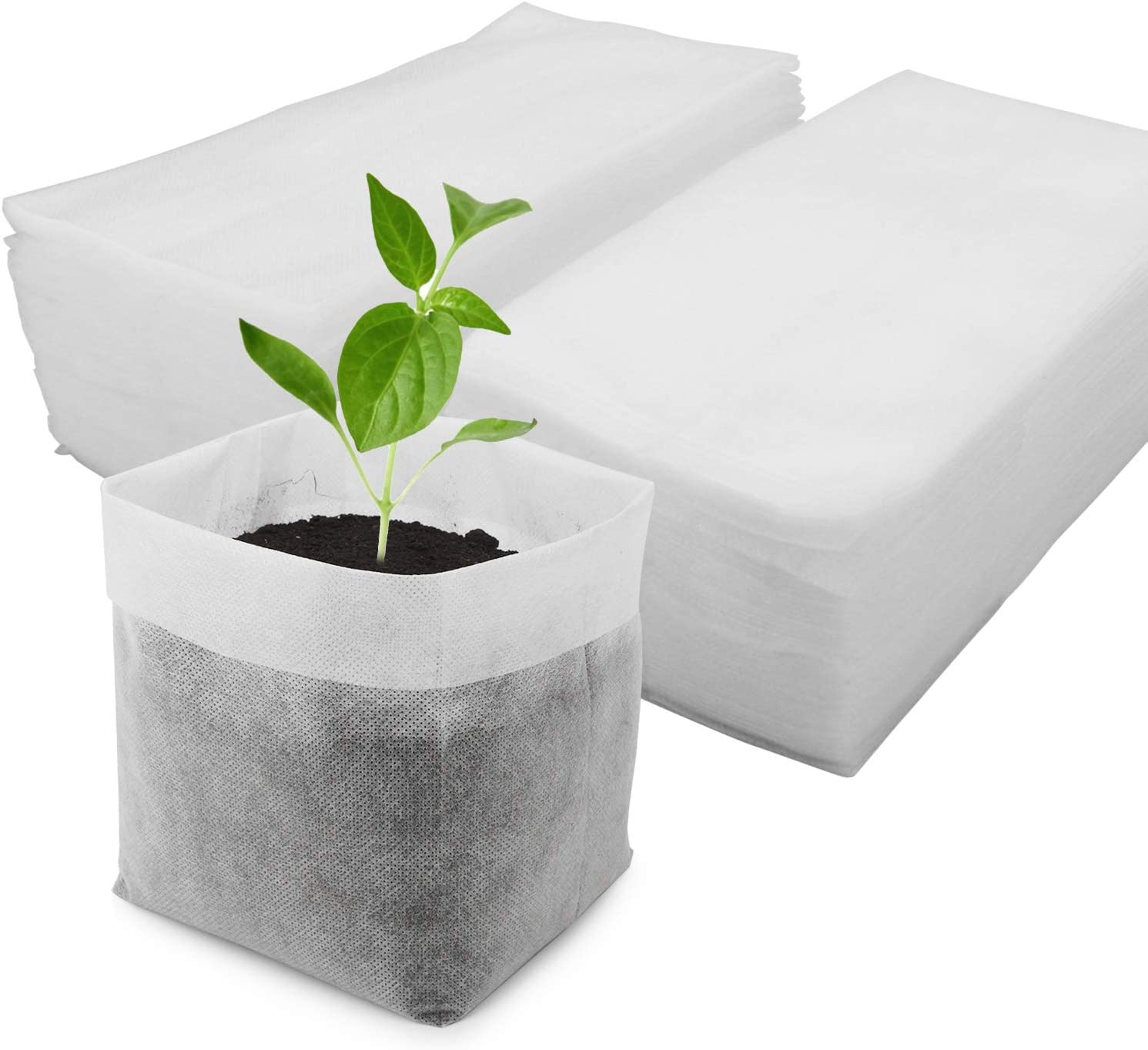 ENPOINT Non Woven Fabric Nursery Bags, 100pcs 9 x 9 in Thickened Aeration Nursery Seedling Pots, Garden Grow Bags for High Seedling Survival Rate Planting Plant Flower Seed Starter Bags