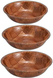 Wooden Salad Bowl Set of 3 Includes - 8, 10 and 12 Inch Wooden Bowls 1 of Each Size. Great for Fruit, Food, Salads and Serving Bowls.
