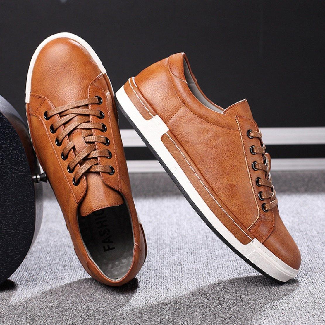 Homme Baskets à Lacets Casual Basses Chaussures en Cuir Travail Business Sneakers Sport Noir Marron Gris Jaune 38-46
