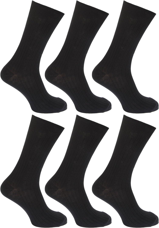 Floso - Calcetines lisos acanalados 100% algodón para hombre ...