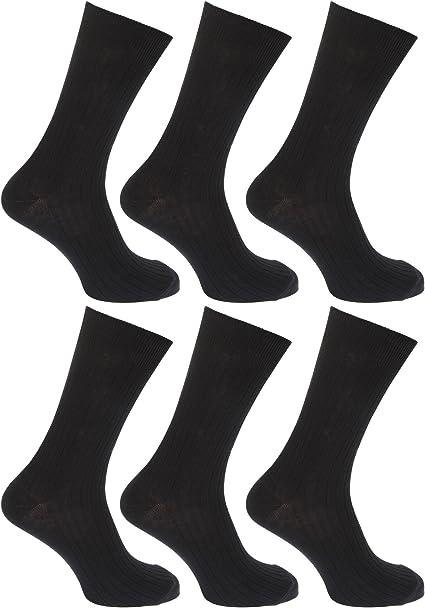 Floso - Calcetines lisos acanalados 100% algodón para hombre/caballero - Pack de 6 pares de calcetines (39-45 EUR) (Negro): Amazon.es: Ropa y accesorios