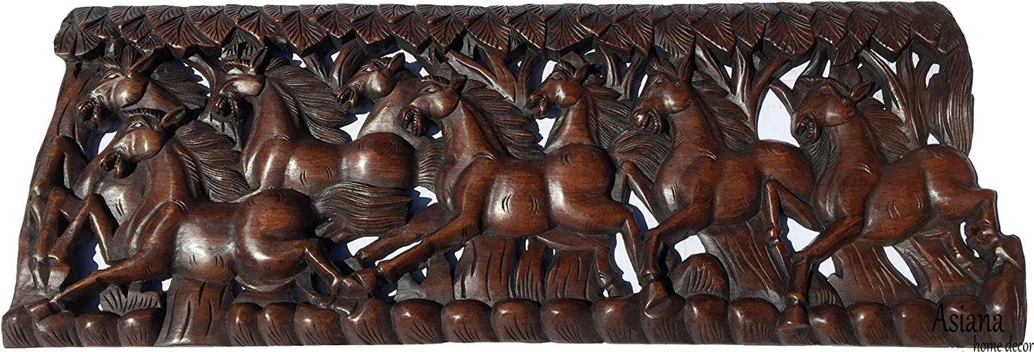 Running Horse Feng Shui Symbol Wood Carved Wall Panel Asiana Chinese Home Decoration 35 5 X13 5 X0 5 Extra Thick Dark Brown Home Kitchen