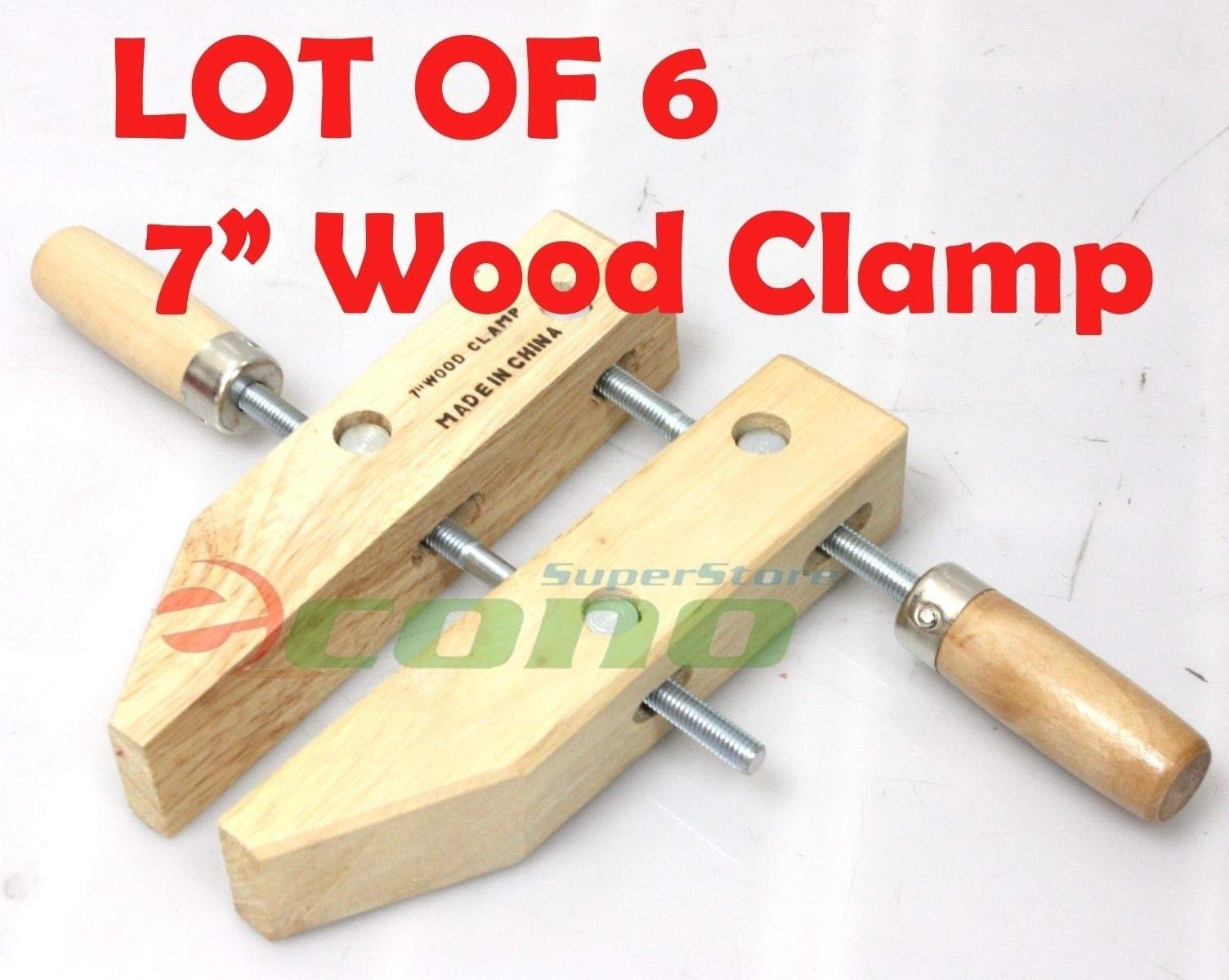 KCHEX>Lot SIX(6) 7'' wood working clamps tools wood handscrew''7''>7'' WOOD CLAMPS WOODWORKING CLAMPS Each 3-1/2'' DEEP X 3-1/4'' OPEN WIDE,& 1-3/8'' THICK by COLIBROX (Image #2)