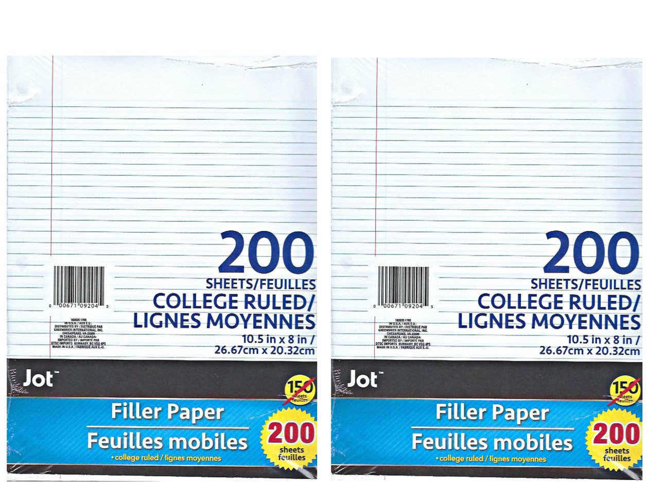 College Ruled Filler Paper ( 400 Sheet Count ) 3 Pre-punched Holes