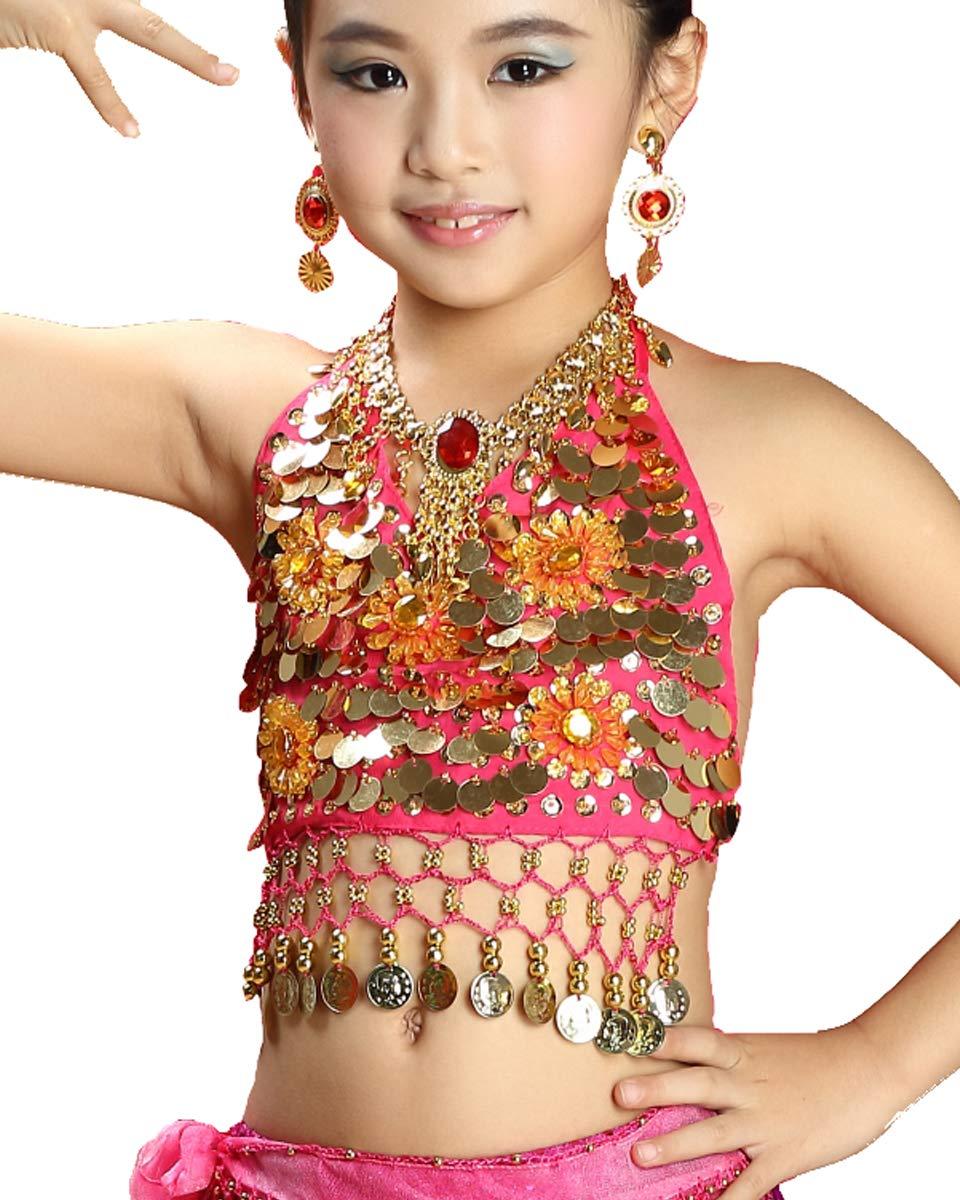 100-140 cm Grouptap Bollywood India Bambina Bambina Piccola Principessa araba Danza del Ventre Costume Costume Blu//Rosa//Viola Top Gonna Fantasia Bambino Vestito