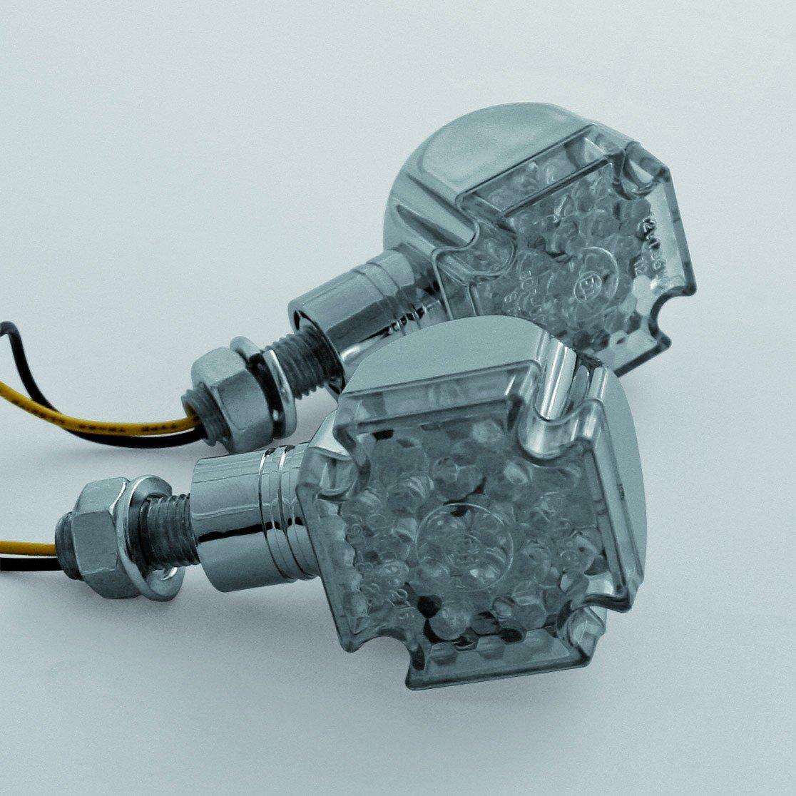 kurzer Stiel Blinker LED CROSS E-gepr. chrom