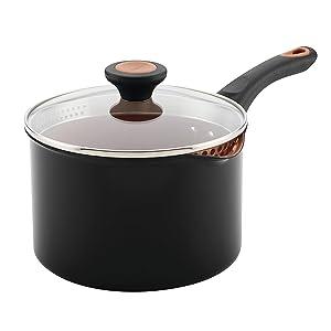 Farberware 10655 3-Qt. Straining Aluminum Saucepan 3 Quart Black