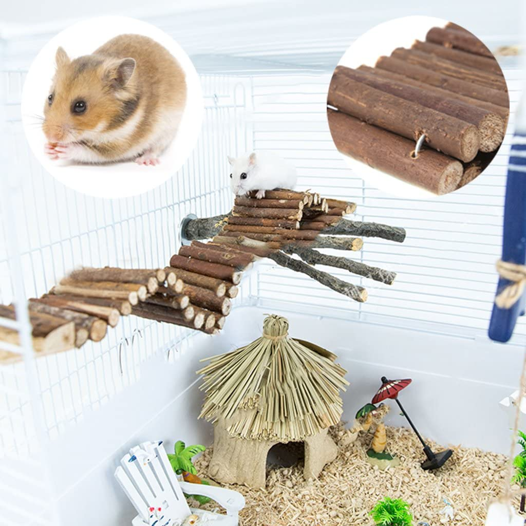 bluederst Natural Wooden Climbing Ladder Bridge for Hamsters Pet Mouse r Rat Parrots Trainning Toy