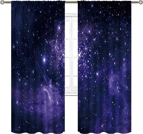 Cinbloo Stars Dust Starry Sky Window Curtains Rod Pocket Galaxy Planet Nebula Blue and Purple Art Printed Living Room Bedroom Drapes Treatment Fabric 2 Panels 52 W x 84 L Inch
