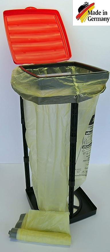 HG Verlag Soporte Saco de basura hasta 90L Ideal para saco Amarillo Fits Top Cubo de basura Soporte Soporte para bolsa de basura