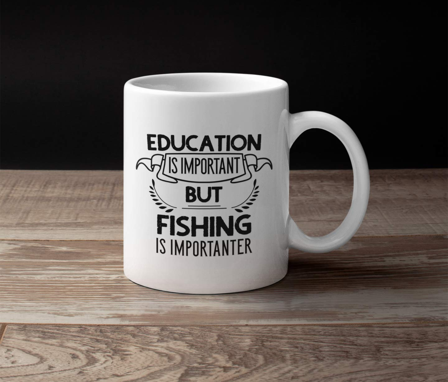 Funny Fishing Gifts Novelty Fishing Gift idea for Fisherman or Retirement. Education Is Important But Fishing Is Importanter 11 oz Coffee Mug for Dad or Grandpa